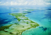 Turneffe Atoll from the air, Belize dive snorkel